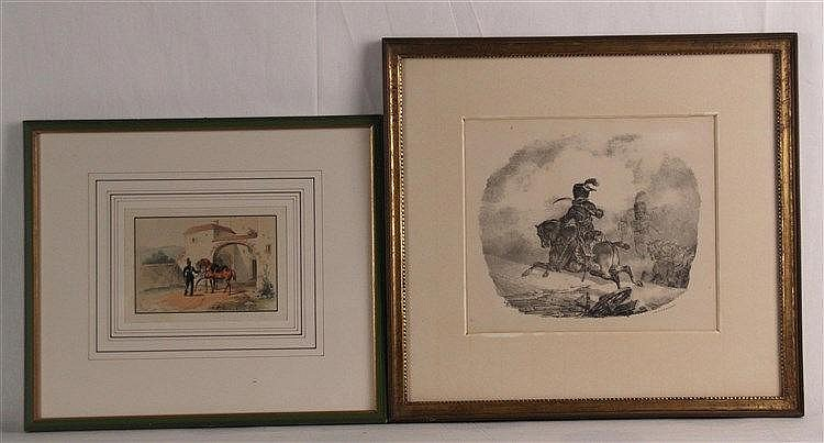 Konvolut Soldatenabbildungen - 2-tlg, Lithografien, um 1830, 1x altkoloriert,1x bez.G.Engelmann, z.T. minimal stockfleckig, PP-Ausschnitt ca. 9,5x13,5 cm, in PP unter Glas gerahmt