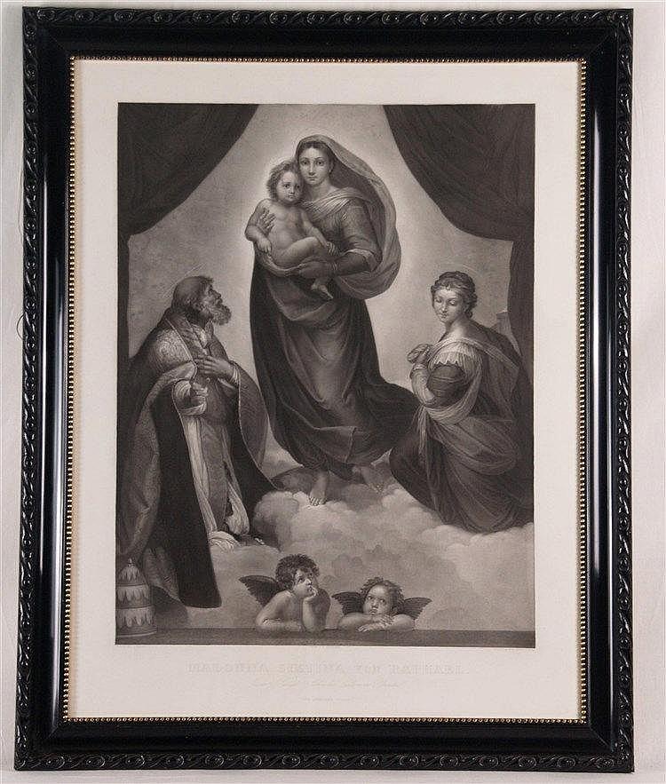 ''Sixtinische Madonna von Raffael -zusätzlich beschriftet ''In der Königl Sächsischen Gallerie Dresden'', gestochen von Oldermann, Plattenrand ca. 75x57 cm, unter Glas gerahmt