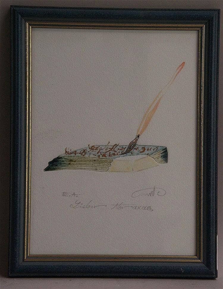 Plaut,Amos (*1940 Tel Aviv)- ''Lieber Abraxas'',Radierung, num.''ea'',ca.23x17cm,gerahmt unter Glas
