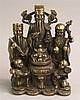 ''Sanxing''- Figurengruppe - China,vollplastische Darstellung der populären glückbringenden Sternengötter ''Fu''(Glück,Wohlstand),''Lu''(Erfolg,Ansehe n) und ''Shou''(Langes Leben),diese stehen hinter einem auf zahlreichen Münzen platzierten