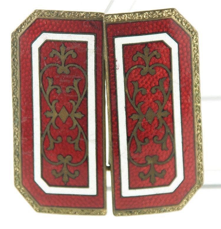 Gürtelschnalle - Emaille-Arbeit:roter Fond mit goldenen Verzierungen und weißen Linien,in Messing gefasst, guter Zustand ,ca.5,5x6cm