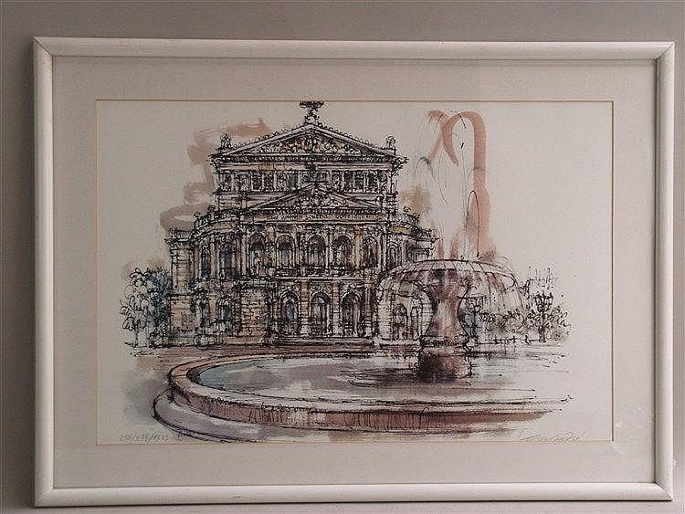 Ahrlé,Ferry - ''Alte Oper Frankfurt'', Siebdruck, num.258/299, handsigniert, 1983 datiert,ca.39x59cm, in P.P. unter Glas gerahmt