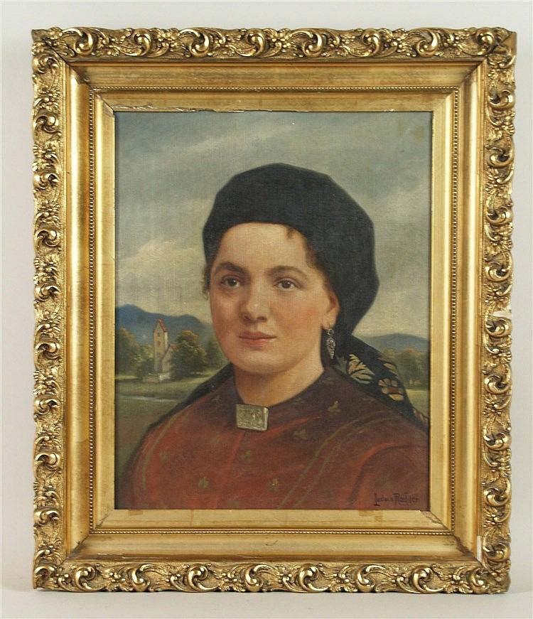 Roeßler, Ludwig von(1842-1910) - Porträt einer jungen Frau mit Kopftuch, Öl/Leinwand, signiert, ca.40,5x32cm, Rahmung