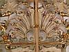 Jugendstil-Kamingitter -Schmiedeeisen,durchbrochene Doppeltüren, mit üppigem Rankendekor und plastischem Blütenbesatz,farbig gefasst und  teilvergolet,Fassung am Rahmen partiell lt. berieben,ca.90x107cm -Versand nur per Spedition möglich