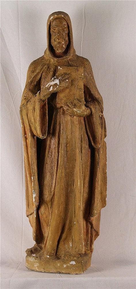 Myslbek,Josef Václav (1848-1922,wohl)- Hl.Iwan,vollplastische Darstellung des legendären böhmischen Einsiedlers mit Buch,Gipsausformung,Fassung mit Beschädigungen,H.ca.79cm