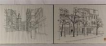 Claus, Wolfgang (*1933 Berlin) - Zwei Frankfurt/M-Ansichten: ''Goetheplatz mit dem Blick auf St.-Katharinen-Kirche'' und ''Affentorplatz'', Vorlagen für die Serie ''Frankfurter Grafik-Drucke'', Tuschfeder auf Papier, 1976 datiert, handsigniert mit