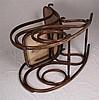 Thonet-Schaukelstuhl - geschwungenes Bugholz,gebeizt,seitlich Voluten,Sitz und Rückenlehne aus Korbgeflecht erneuert,ca.100x111x57cm,lt. Risse,Alters-und Gebrauchsspuren
