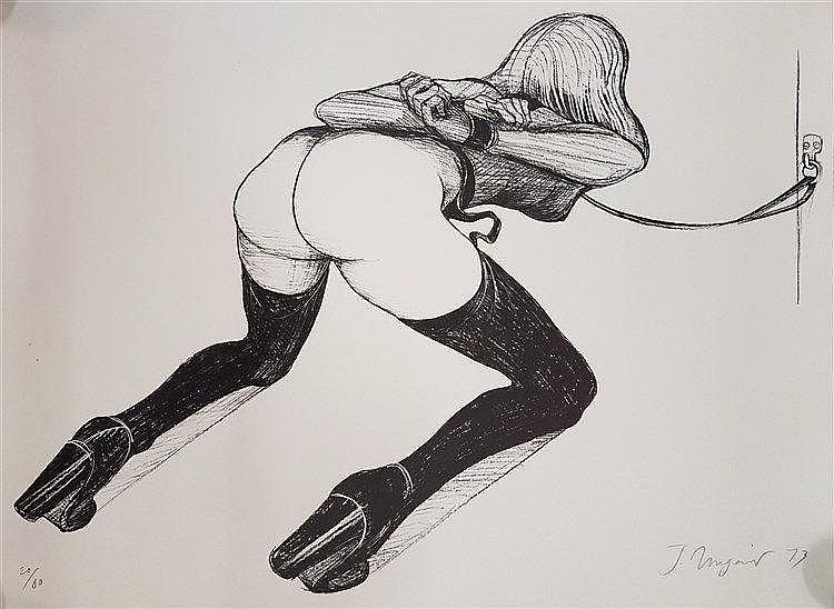 Ungerer, Tomi  (*1931 Straßburg) - ''Fetisch'', 64x92cm, Offset-Lithografie, handsigniert und 1973 datiert, Nr.20/80,Blatt liegt lose