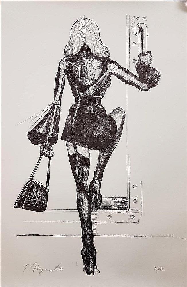 Ungerer,Tomi (*1931 Straßburg) - Ohne Titel-Rückenansicht,ca. 118x89cm,Offset-Lithografie, handsigniert und 1973 datiert,num.38/80,Blatt liegt lose,lt.Knickspuren am Rand