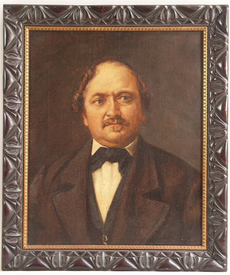 Thoma,Hans(1839 Oberlehn,Bernau - 1924 Karlsruhe) - Portrait eines eleganten Herrn mit Schnurrbart,Öl auf Leinwand,rechts unten fast unmerklich monogrammiert und datiert [18]79,ca.54x44cm,im schönen Jugendstil-Rahmen