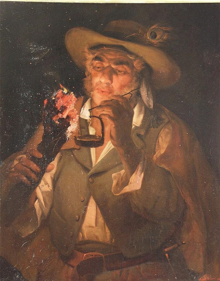 Inganni,Angelo (1807 Brescia- 1880 Gussago) - Bauer mit glühendem Holzspan,eine Lampe anzündend/Contadino che accende una lampada con un tizzone ardente, Öl auf Leinwand, doubliert/auf Platte aufgezogen, rechts unten signiert und datiert 1869,