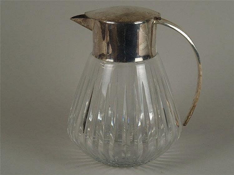 Kalte Ente - Glas mit versilberter Montierung,ausgestellte Glaswandung mit Kristallschliff,Einsatz aus Glas,H.ca.23 cm,Gebrauchsspuren