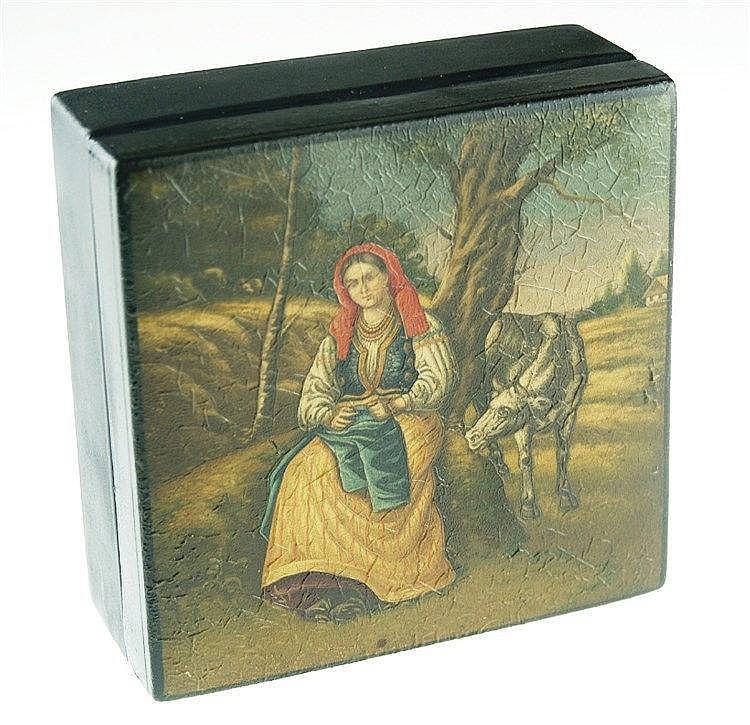 Lackschatulle ''Bäuerin bei der Rast''- rechteckiger Holzkorpus, polychrome Darstellung einer Bäuerin in Landschaft, innen rot lackiert, HxBxT ca.5x12x12cm