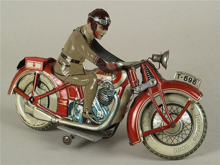Motorrad - Tippco T-696, 1930er Jahre, lithographiertes Blech,1 Figur, Federwerk funktionsfähig,H./L.18/30cm,Altersspuren ,Bodenplatte nicht verschließbar,Gepäckträger ergänzt(T-694)