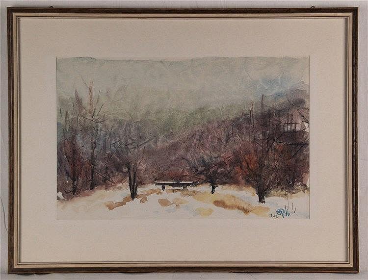 Gress,K.(Marburger Maler) - Verschneite Landschaft,Aquarell auf Papier,gerahmt mit Passepartout,ca.50x66cm