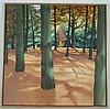 Evans,Judith - Unter den Pinienbäumen, 1984,Öl auf Leinwand,rechts unten signiert,ca.105,7x105,4cm, Holzrahmung