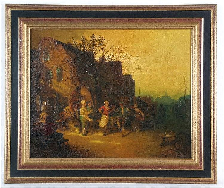 Duxa,Carl(1871 -Wien-1937,österr. Maler, Sohn des Porträt- und Genremalers Alois Duxa) - Heitere Bauerngesellschaft vor einem Wirtshaus, Strassenszene im Stil von Adriaen van Ostade,Öl auf Leinwand,unten links signiert,ca.34 x 45 cm
