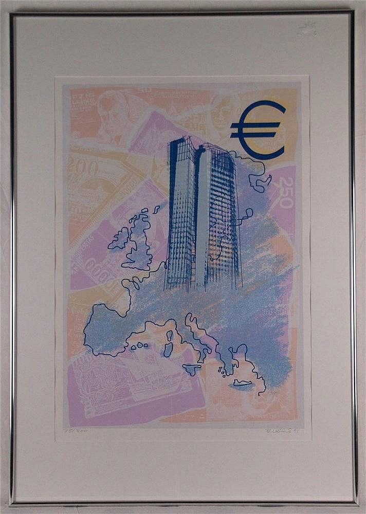 Unbekannt - Hochhaus mit Eurozeichnen und Geldscheinen, ca. 52x72cm, mit Bleistift von Hand signiert (unlesbar), datiert 1998, nummeriert 78/300,Farblithographie mit Passepartout unter Glas gerahmt ca.70x100cm