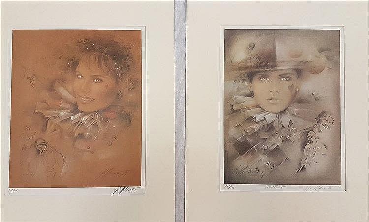Zwei Frauenporträts in Harlekinkostümen - Farbserigrafien, mit Bleistift signiert, datiert 1984, einmal bez. ''Theater'', nummeriert 221/300 und 233/300, Blattgröße ca.43x35cm/42,5x32cm, in PP, ungerahmt