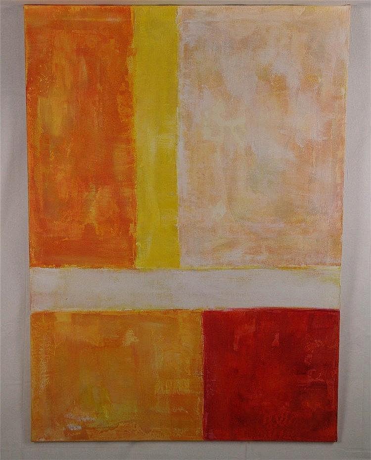 Lasportas,Howard - Farbkomposition in Orange,Rot und Weiß, Acryl auf Leinwand, rückseitig signiert, ca.100x140cm,ohne Rahmung