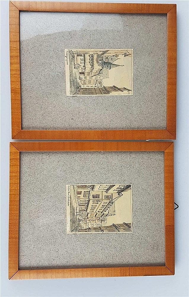 Reiffenstein, Karl Theodor (1820-1893) - Zwei Radierungen ''Predigergasse'' und ''Hinter dem Lämmchen'',je ca.5,2x7,8cm, einzeln uneter Glas gerahmt