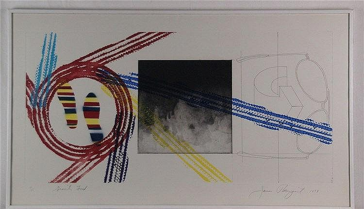 Rosenquist, James (* 1933 , US-amerikanischer Pop-Art-Maler) - ''Gravity Feed'',Lithographie, ca.59,1x102,9cm,betitelt,datiert ''1978'', signiert, num.18/18, unter Glas gerahmt - James Rosenquist war einer der führenden Vertretern der Pop-Art. Als