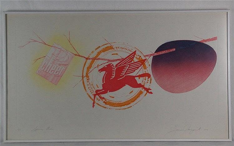 Rosenquist,James (* 1933,US-amerikanischer Pop-Art-Maler) - ''Spring Cheer'',Lithographie, signiert,betitelt, datiert ''1978'',num.''3/18'', ca.59,1x102,9cm, unter Glas gerahmt