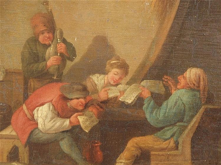 Niederländischer Genremaler -18./19.Jh.-Bäuerliche Interieurszene im Stil von Isaac Jansz.van Ostade(1621-1649),Öl auf Holz,rechts unten signiert ''J.van Ostade'',ca.29,5x38,5cm,mit Rahmung