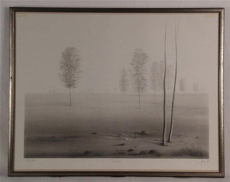 Grüger Ev (geb.1928 Altenburg, lebt und arbeitet in Hofheim/Taunus) - mit Bleistift von Hand betitelt ''Baumpaar'', signiert, datiert 1978, bez. ''Probedruck'', ca.49x64cm, unter Glas gerahmt