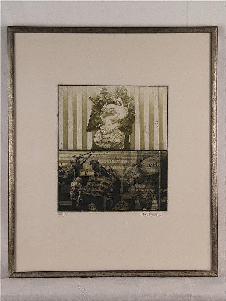Böttger, Klaus (Dresden 1942 - 1992 Wiesbaden) -Ohne Titel,Ätzung, Aquatinta, Mezzotinto, Kupfer, mit Bleistift signiert, datiert und als 94/250 nummeriert Werkverzeichnis Nr.317 aus 1975,unter Glas gerahmt,ca.31,7x51,5cm