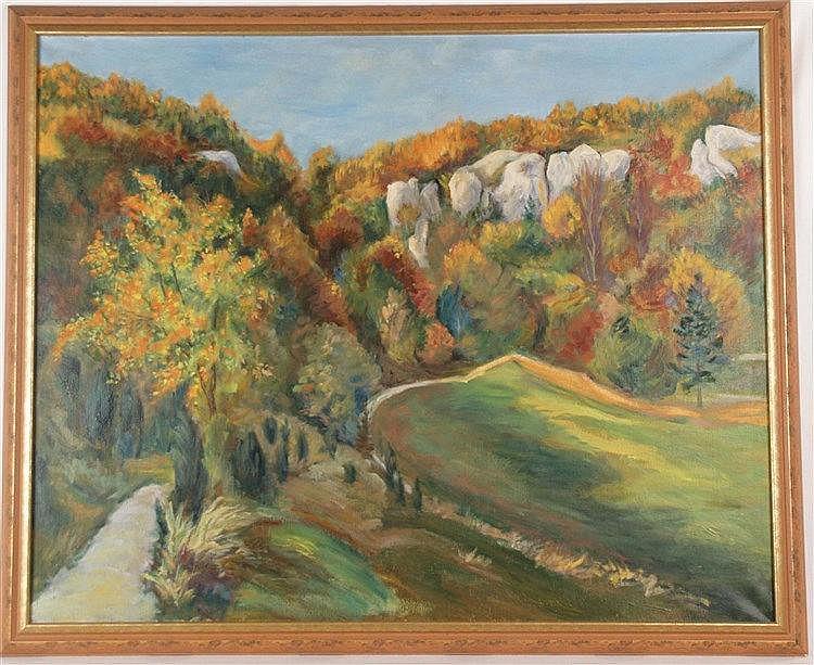 Lie Thelier (1902 - 1976) - Herbstliche Gebirgslandschaft,Öl auf Leinwand,1958,verso auf Leinwand Künstlername und Inventarnummer 66/19, ca.90x170cm