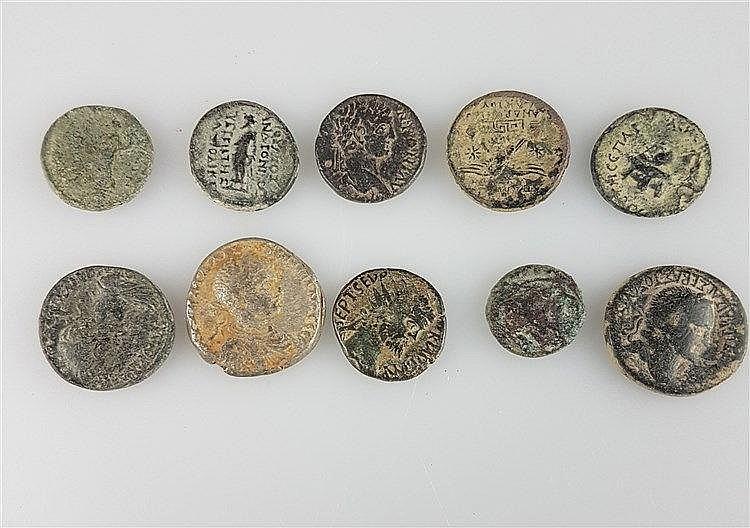 Konvolut Antike Münzen - 10 Stück,Bronze,diverse Münzen aus Bodenfund ungereinigt,Dm.ca.1,5-2,5cm