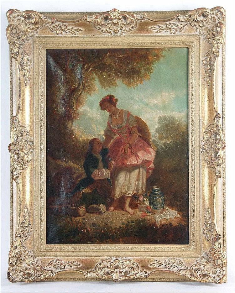 Anonym 19.Jh.- Der Liebesschwur -Galantes Schäferpaar in Landschaft, Öl auf Leinwand, ca.43x32cm,Stuckrahmung
