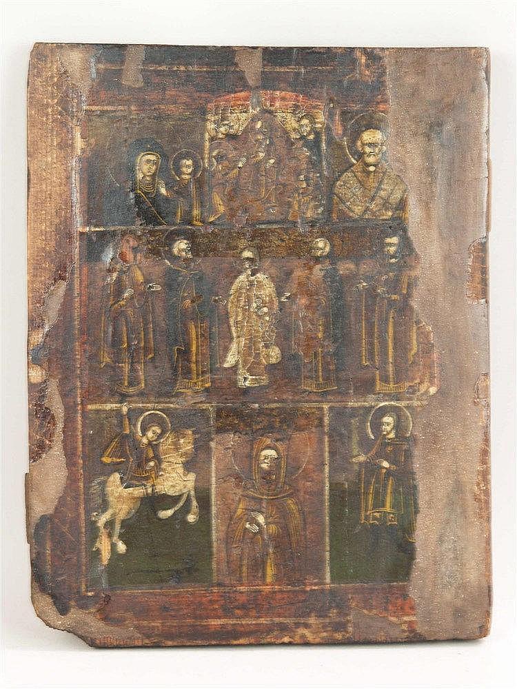 Mehrfelderikone - Russland, wohl 18./19.Jh.,Eitempera auf Holz,7 Bildfelder in 3 Reihen, oben: Gottesmutter von Kasan, die Höllenfahrt Christi, Hl.Nikolaus,i.d. Mitte: Christus, flankiert von vier Heiligen, unten: Hl.Georg, zwei weitere Heilige,