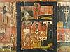 Mehrfelder-/Auferstehungsikone - Russland, wohl. 19.Jh., Eitempera auf Holz, zweiteiliges Bild im Zentrum (die Auferstehung Christi und die Höllenfahrt), umlaufend 12 Bildfelder mit großen Festen des orthodoxen Kirchenjahres, kirchenslawische