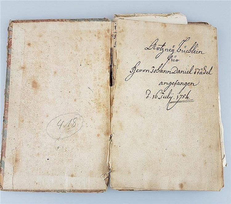 Notizbuch für Medikamente - auf dem Blatt 1 bez.''Artznei Büchlein für Herrn Johann Daniel Städel angefangen 16.Juli 1754'', ca.21 handgeschriebene Seiten, Zeitraum 1754-1796, mit 5 Einlageblättern, von Städel unterschrieben, Zeitraum