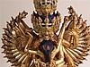 Figur des Yidams Chakrasamvara mit Gefährtin - Tibet,tibet.''khor lo bde mchog'': dt.Übers. ''Das Rad der höchsten Wonne'',wohl Kupferlegierung mit Feuervergoldung und Bemalung,zweiteilig aus Figur und Padmasana-Sockel bestehend,H.ca.44cm,der hier