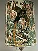 Große Stehlampe - 1970er Jahre,H.ca.125cm, Schirmdm.ca.50cm, 3-flammig, verschiedenstmöglich einstellbar,massive schwere Keramikkugel mit Metallmontierung,Stoffschirm mit Paradiesvogeldekor,elektrifiziert
