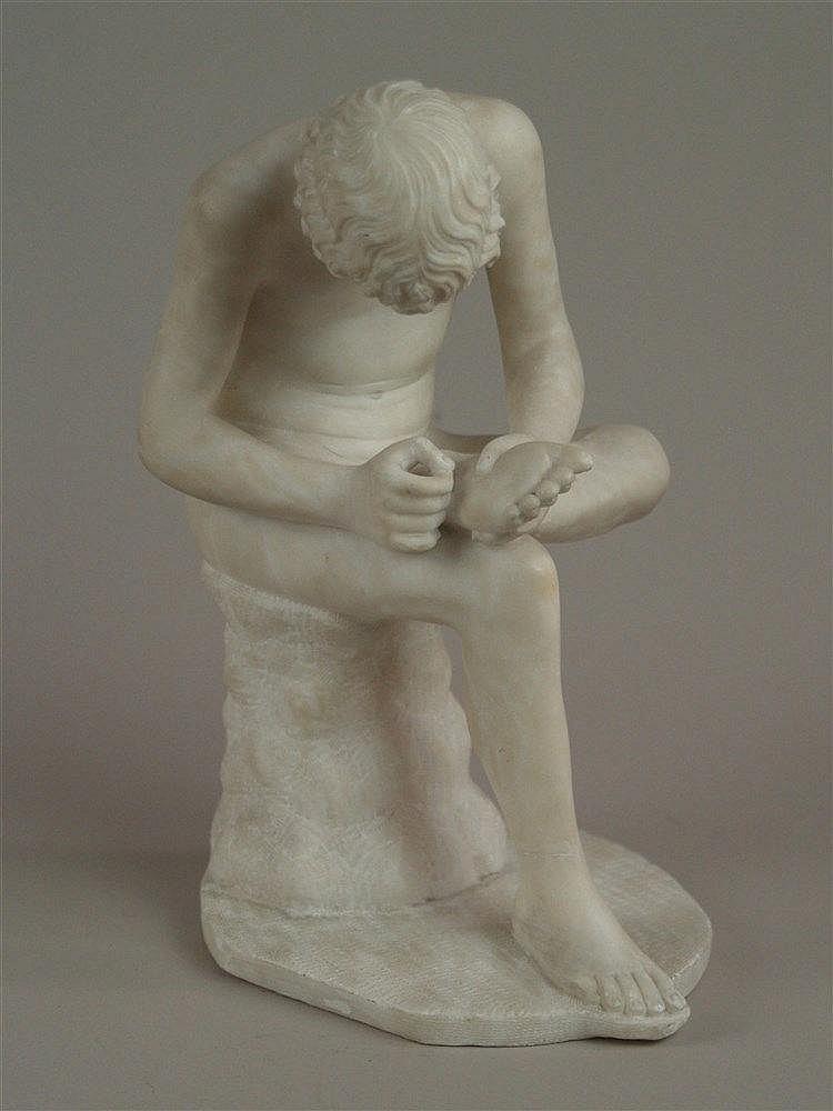 Dornauszieher/Spinario - Alabasterfigur nach dem späthellenistischen Bronze-Vorbild,wohl Italien,restaurierter Riss am rechten Knöchel,H.ca.28cm