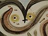Picasso,Pablo(1881 - 1973) - Bildplatte ''Wood owl'',Madoura/Vallauris, Entw. Pablo Picasso 1948,leicht rechteckige Platte mit abgerundeten Ecken,im Spiegel Eulenmotiv,mit Engobe (grün,braun,gelb) und Oxiden bemalt,glasiert,verso Pressmarke