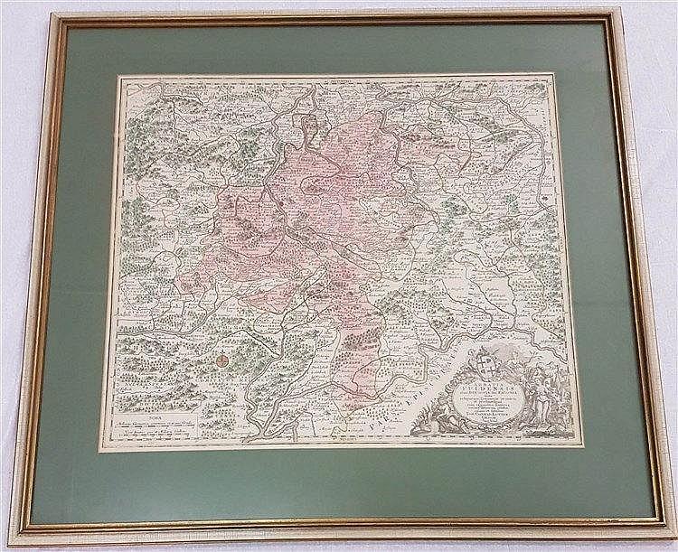 Lotter,Tobias Conrad (1717-1777) - Landkarte Abtei Fulda, bez. ''Abbatia Fuldensis alias Buchovia seu Fagonia ...'',kolorierte Kupferstichkarte,um 1740/60, ca.49×58 cm,unter Glas gerahmt