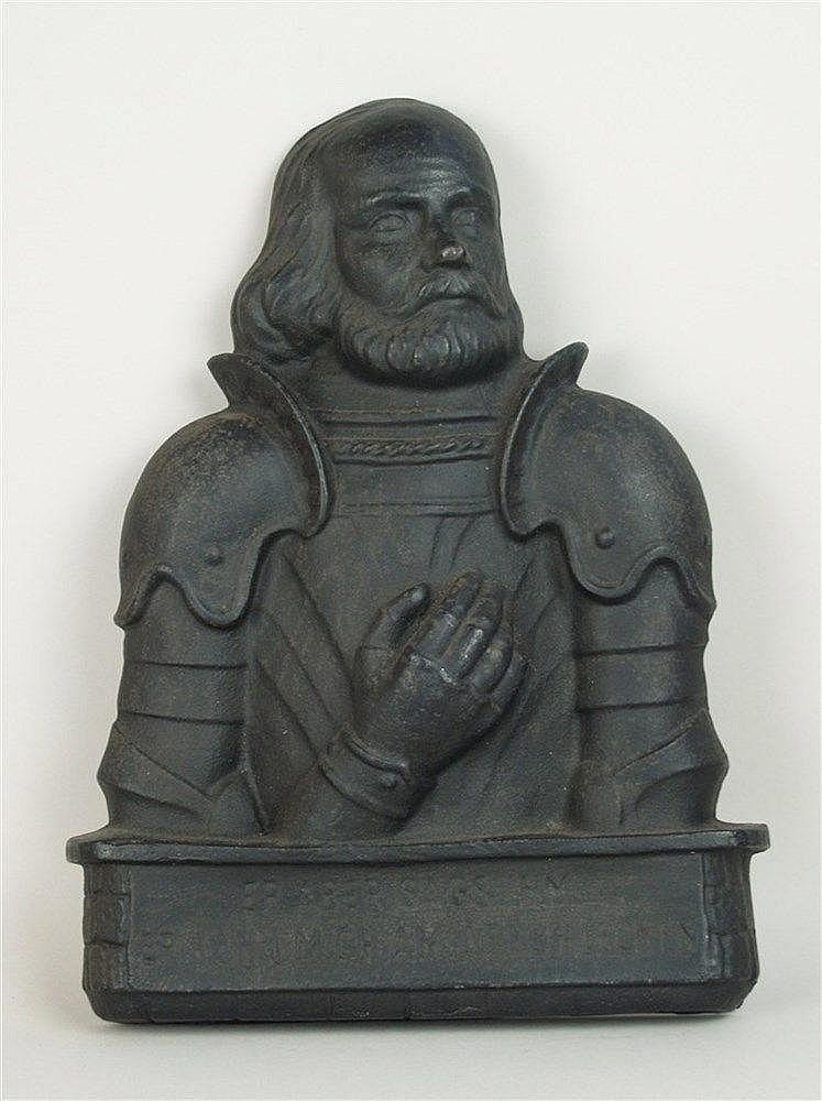 Relief ''Götz von Berlichingen'' - Eisenkunstguss, Götz von Berlichingen in Dreiviertelprofil,die Hand vor der Brust haltend,unterhalb mit berühmtem Spruch, ca.43x30cm