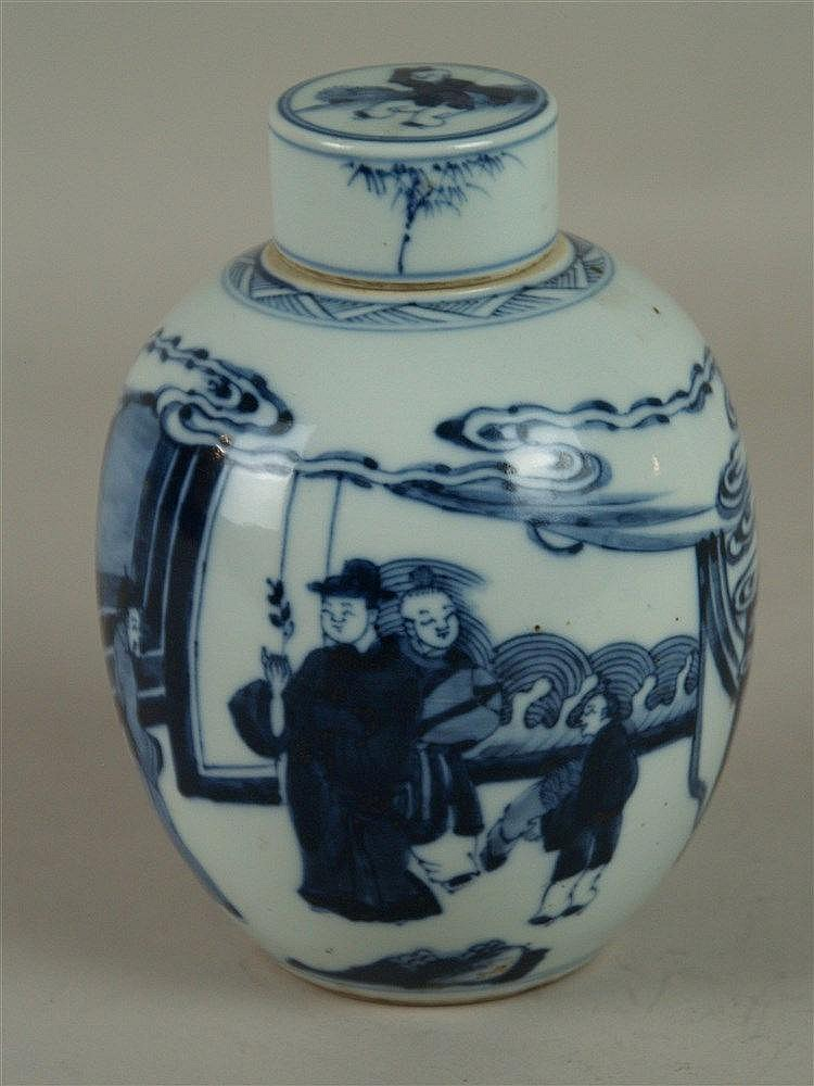 Teedose/Schultertopf - China,19./20.Jh.,Porzellan,kobaltblaue Unterglasurmalerei(Literatenlandschaft), H.ca.18cm