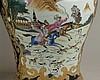 Paar Deckelvasen - China 20.Jh.,dickwandiges Porzellan, Schultervasen mit zwei großen geschweiften Reserven mit polychromen Jagdszenerien im europäischen Stil,entsprechender Ornamentdekor in Ocker und Gold auf Kobaltblau,hochgewölbter Deckel mit
