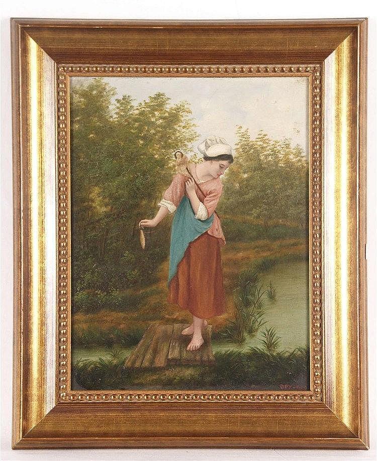 Monogrammist 19.Jh. - Spinnerin am Gewässer,Öl auf Leinwand,doubliert,rechts unten monogrammiert ''DPY'' und datiert 1889, ca. 34x25,5cm, gerahmt