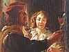Jordaens,Jacob (1593 -Antwerpen- 1678,Nachfolge) - Heitere Gesellschaft,Öl auf Leinwand,unten rechts mit Namenszug ''Jordaens'',17./18.Jahrhundert,ca.44x38,5 cm,alt-restauriert,doubliert,Craquelé,Le inwand verso mehrfach geflickt,rückseitig auf