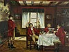 Kopist - Jagdfrühstück im Herrenzimmer,Öl auf Leinwand, Motiv nach Frank Moss Bennett (1874-1953),rechts unten signiert,ca.60x80cm,Rahmung, Frank Moss Bennett, €150