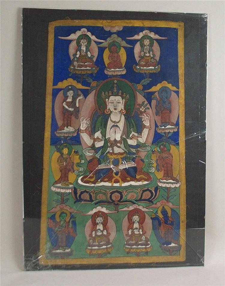 Thangka des Bodhisattva Chaturbhuja Avalokiteshvara - Nepal,Malerei in Gouachefarben, im Zentrum sitzt der Bodhisattva in seiner vierarmigen Erscheinungsform auf einem Lotosthron, in den vorderen Händen ruht,auf Herzhöhe erhoben, das