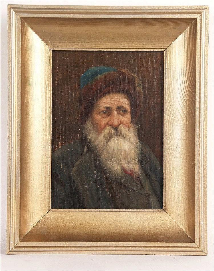 Unbekannt - Portrait eines alten bärtigen Russen mit Fellmütze,Öl auf Holz,ca.21x15,5cm,Rahmen