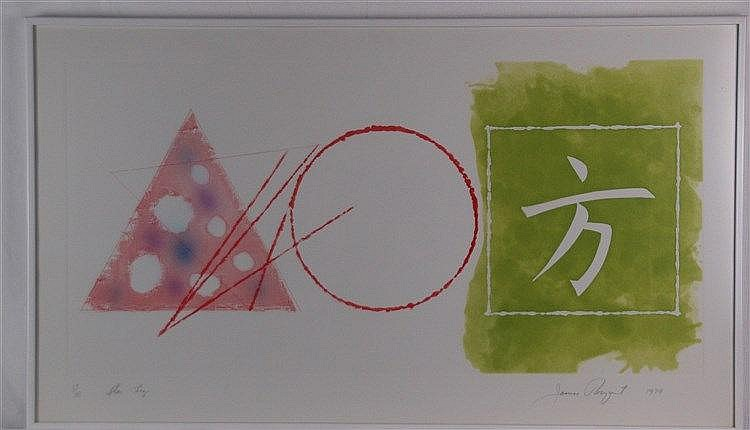 Rosenquist, James (* 1933 ,US-amerikanischer Pop-Art-Maler) -''Star Leg'', Lithographie,signiert, num. 17/18, betitelt, dat. ''1979'',ca.59,1x102,9cm,unter Glas gerahmt